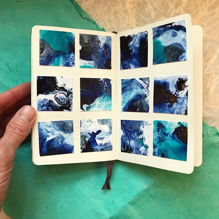 Mini Malerei Ideen, Kunst Journaling Ideen, wie man eine flüssige Malerei macht