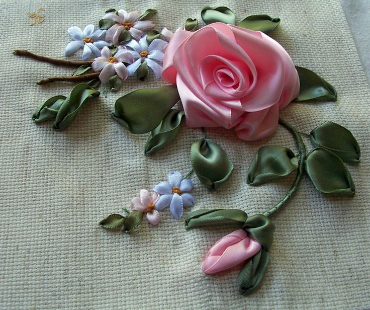 Silk ribbon embroidery, directions are below photos