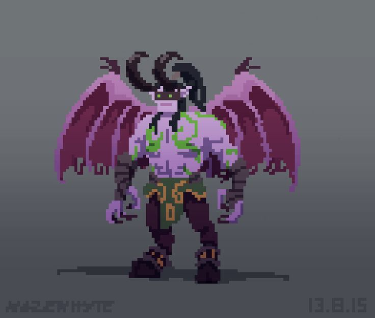 Illidan, World of Warcraft by Larissa Hazenhyte. Pink torso and wings are impressive