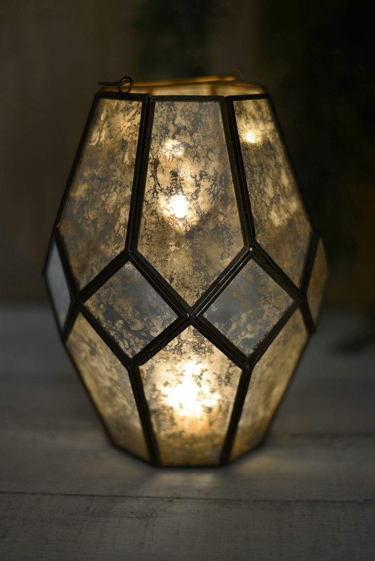 Mid-century Modern Candle Lantern with Chain Hanger