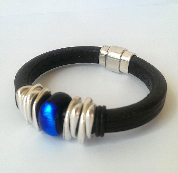 Unisex Black Leather Bracelet with Handmade Fused by FusionBloom