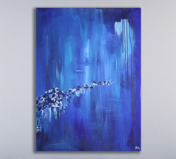 Original abstract painting created in my studio, Calgary, Canada.   ~ COMPOSITION: blues and white, palette knife strokes  ~ MEDIUM: Professional grade acrylic paints and mediums. I finish all of my paintings with a clear matte coating in order to protect it from UV light, moisture and dust. ~ QUALITY: Like all of my paintings, it is original, authentic, and personally signed. ~ CUSTOM SIZING: Using the drop down menu above, you have the option to select this painting in a number of…