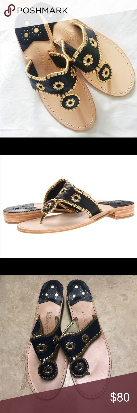 Authentic Jack Rogers sandals Beautiful authentic Jack Rogers gold and black sandals. Very good condition. Size 9. Jack Rogers Shoes Sandals