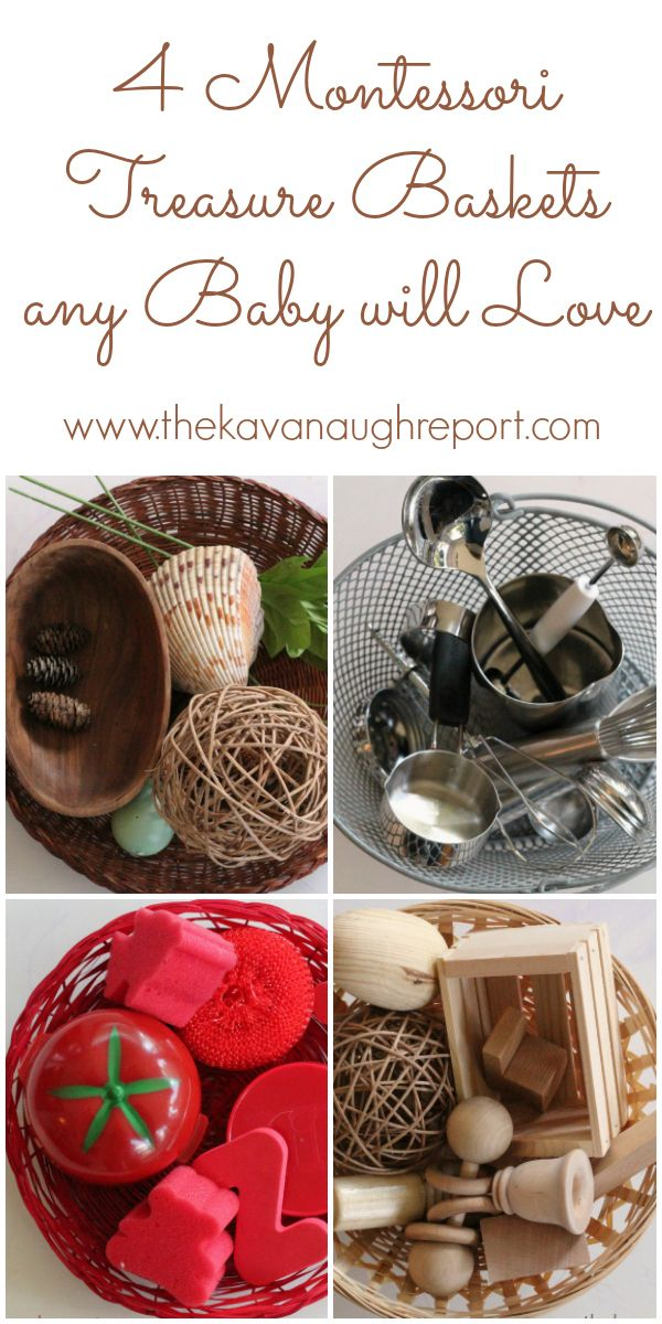 Montessori treasure baskets for babies! Some easy examples and tips for making treasure baskets on your own.