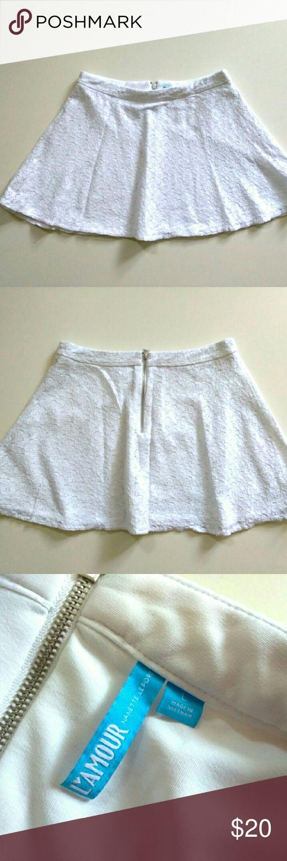 "Nanette Lepore L'Amour white lace mini skirt L Nanette Lepore L'Amour white lace mini skirt L  Length: 15-1/2"" Waist: 15-1/2""   Back zipper Lined  Inv: P2 Nanette Lepore Skirts Mini"