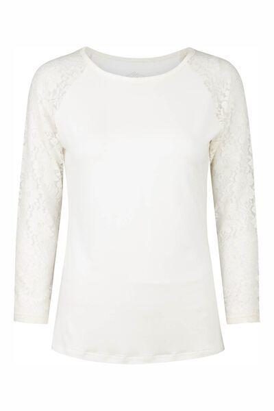 T-shirt med lange blonde ærmer - Rå-hvid. Tina Wodstrup design