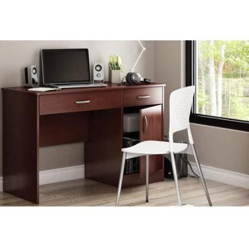 Small Computer Desk Office Dorm Study Writing Desk Drafting Table Brown White   #SouthShore #Transitional