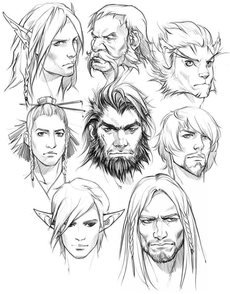 Male Head Sketches By Eva Widermann Male Face Drawing Face Sketch Concept Art Characters