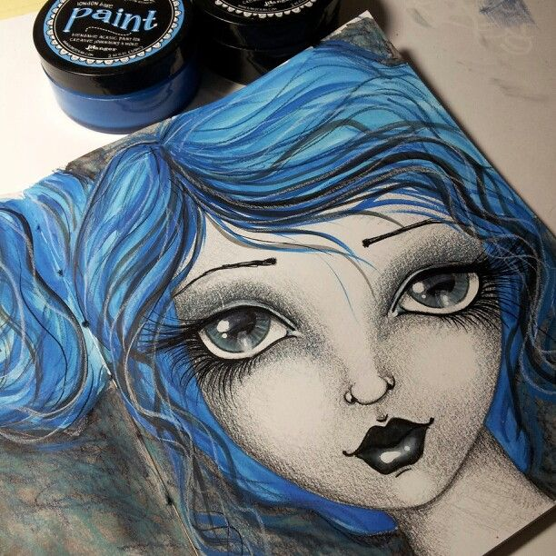 Girl with blue hair.                        My art journal 2015 {This is not my Art. By the time the pin reached me, there was no way to know & credit the artist. ~ Belle}