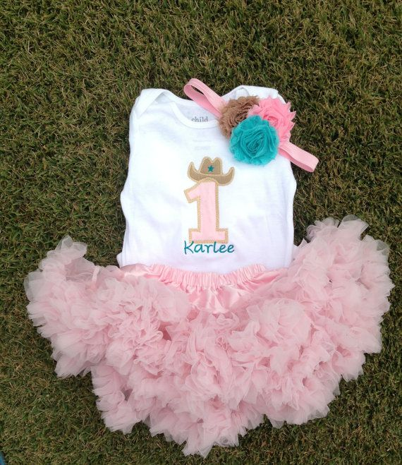 Pink and teal cowgirl birthday outfit - 1st birthday shirt and headband - pink birthday petti skirt on Etsy, $42.00