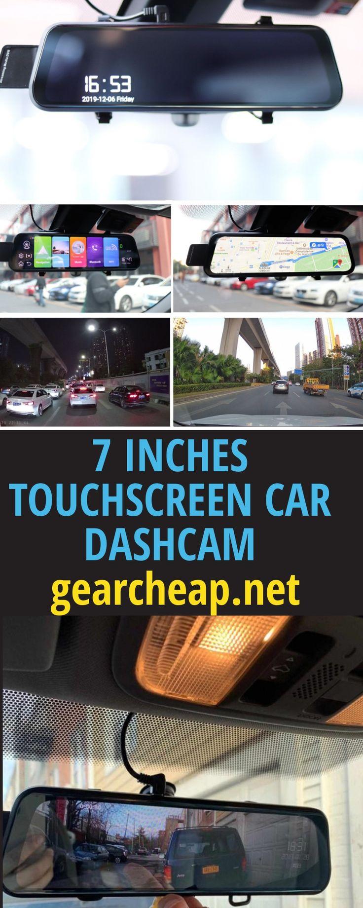 7 inches touchscreen dashcam car dvr dual lens rearview