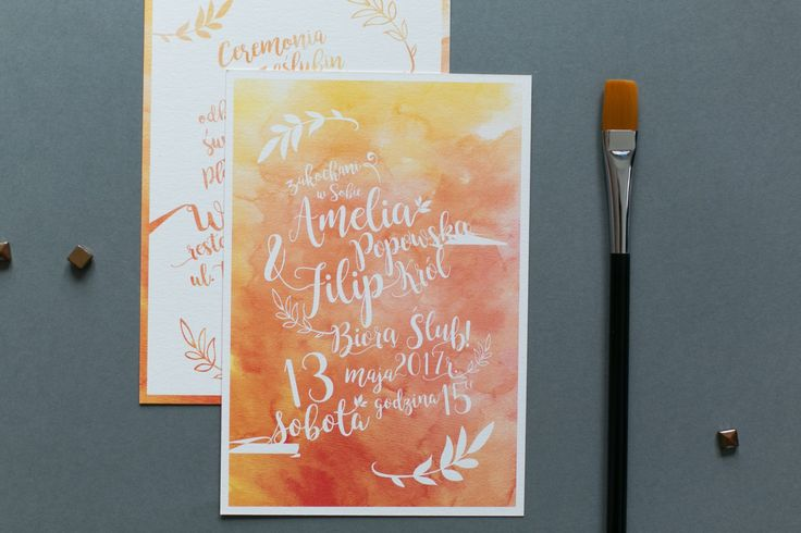 AKWARELA ORANGE – Zaproszenia ślubne