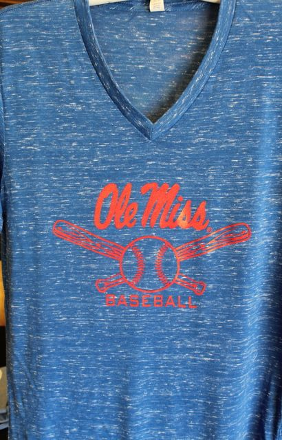 Ole Miss Baseball Canvas T-Shirt Royal Blue v-neck $24.95