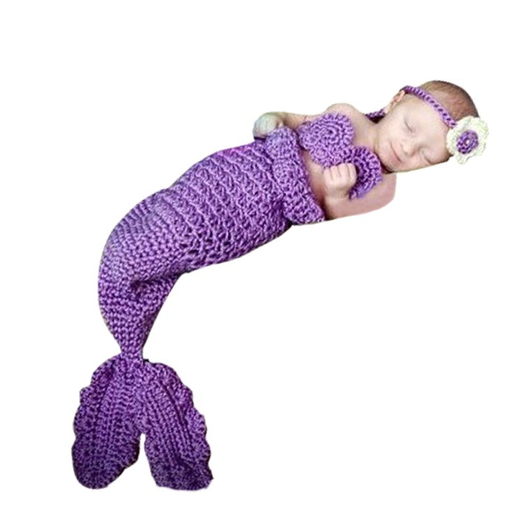 Beauty Mermaid Suits Wool Handmade Crochet Photography Sweater Newborn Baby Cap Z160 #Affiliate