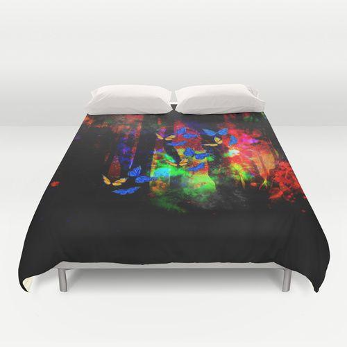butterfly forest Duvet Cover #butterflies #butterfly #duvet #duvetcovers #bedding #bed #bedroom #bedroomdecor #dorm #dormlife #dormdecor #dormroom #forest #fantasy #magical #art #haroulita @society6