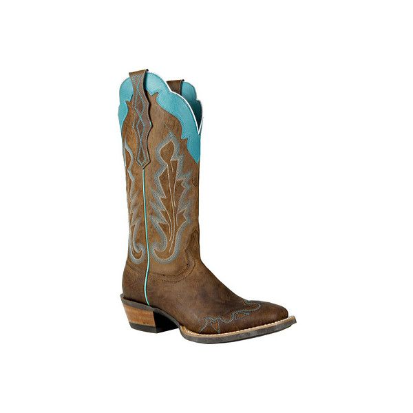 Women's Ariat Caballera ($178) ❤ liked on Polyvore featuring shoes, boots, brown, casual, casual shoes, leather cowgirl boots, tall cowgirl boots, brown wingtip boots, cowgirl boots and leather western boots
