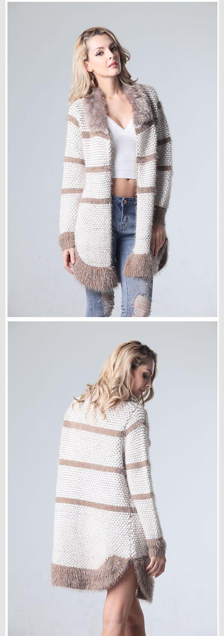 Mujeres suéteres moda 2016 resorte de la largo Cardigans cuello de piel delgada…