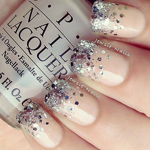 Best Holiday Manicures - OPI Privacy Please with Essie Set in Stones, glitter, nude, pink, polish