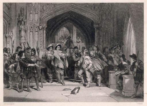 "Pride's Purge - Elements of the New Modal Army that removed all the non puritans and presbyterians from parliament leaving a rump parliament"" with only one fifth of the members remaining. - When Parliament refuses to act against the King, Cromwell instigates this purge of their ranks"