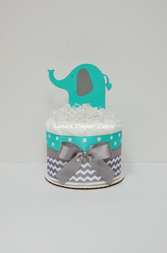 Tiffany Blue Gray Chevron Elephant Diaper von LanasDiaperCakeShop