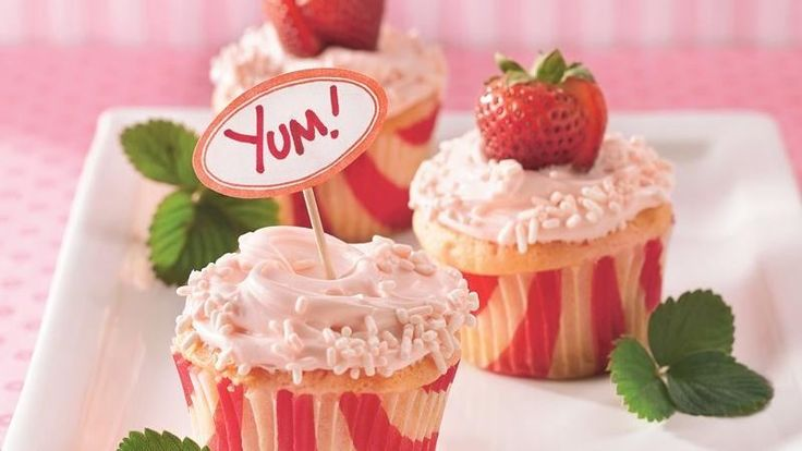 Strawberry and Cream Cupcakes. Pop! Cake mix and soda pop create a delicious strawberry-and-cream dessert.