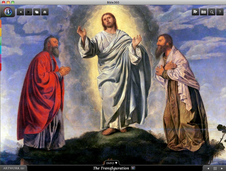 The Transfiguration. Bible360 is a free interactive socially-enabled app that brings the scripture to life through video, photos, maps, virtual tours, reading plans and more! Download it for FREE, www.bible360.com