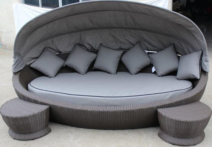 Large Oval daybed in antique grey sunbrella fabric