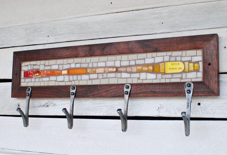Mosaic Coat Rack Yellow and Orange Coat Rack by PhoenixHandcraft