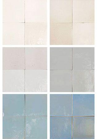 Mélange Zellige en blancs et blanc-transparent