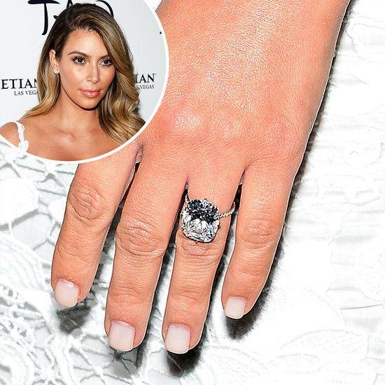 kim kardashian s dazzling engagement ring from beau kanye west