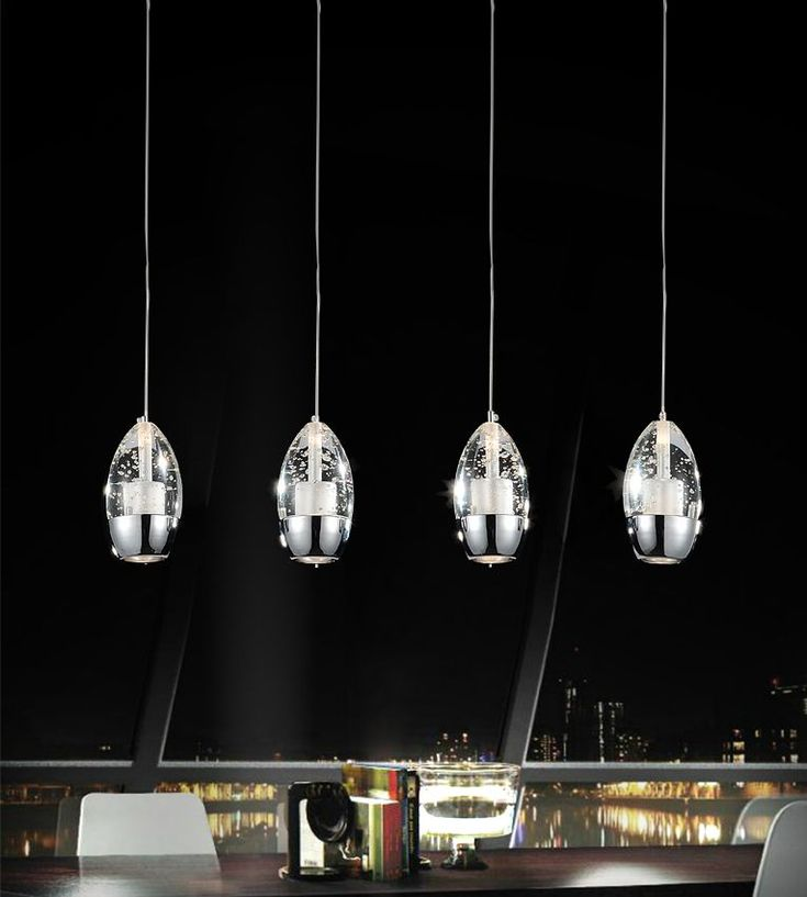 4 light chandelier with chrome rectangle base - Kchenbeleuchtung Layout