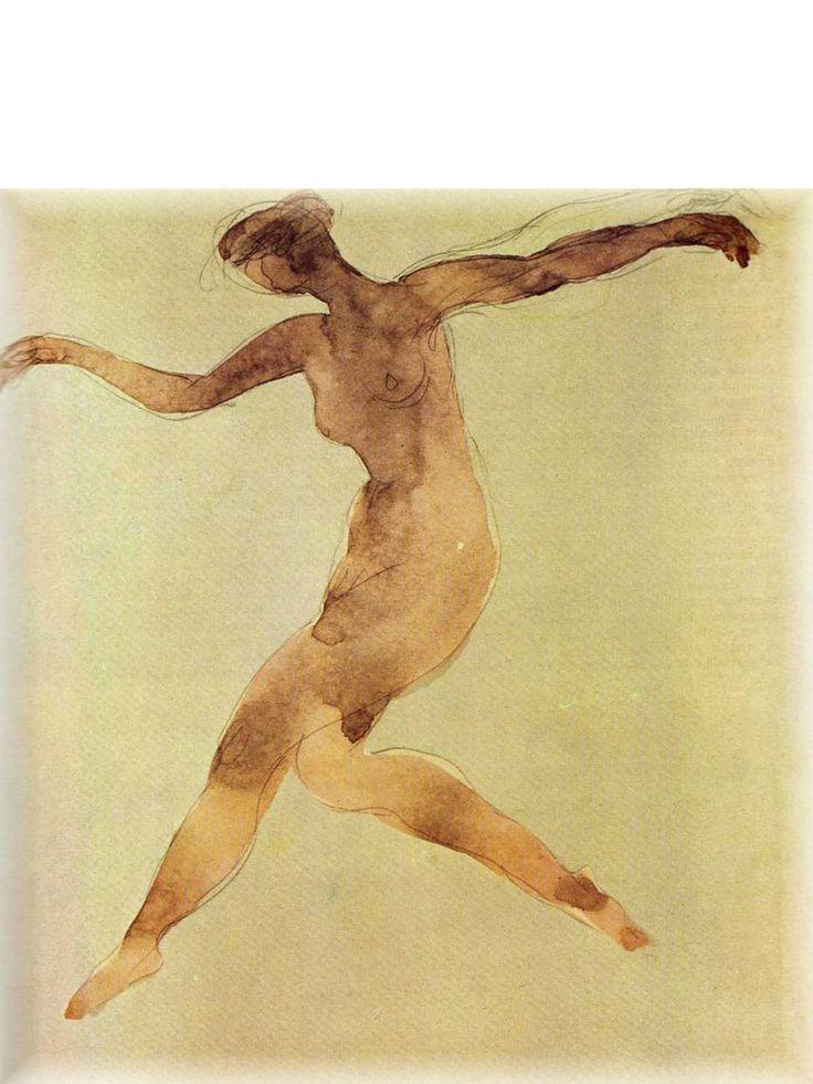 Rodin. watercolor sketch of woman dancing