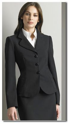A well fitted suit with a button down shirt is an elegant, professional look. | Rita and Phill specializes in custom skirts.  Follow Rita and Phill for more tips on the unwritten rules of office fashion!  https://www.pinterest.com/ritaandphill/conservative-office-outfits/