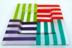 super-mod four color striped dish. Cute and simple.