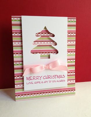 handmade Christmas card from I'm in Haven ... luv this design ... striped base panel ... plain panel with negative die tree attached from top ed of the card ... pink design lined paper ...