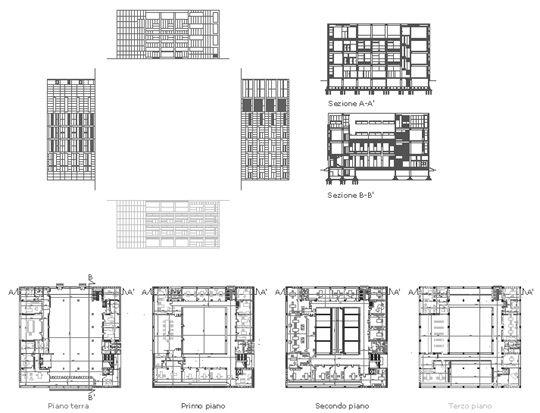 Planos de la casa del Fascio, Como (Italia)