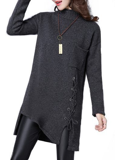 Long Sleeve Asymmetric Hem Lace Up Design Sweater on sale only US$39.89 now, buy cheap Long Sleeve Asymmetric Hem Lace Up Design Sweater at lulugal.com