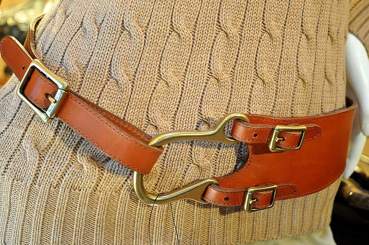 Ralph Lauren Women's Equestrian Brown Tan Leather Dress Belt Sz M NWT #RalphLauren