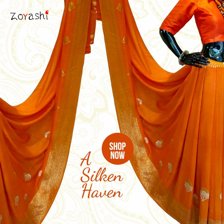 Make a statement with Zoyashi's Saffron Silk Saree and ‪#‎RockThisLookWithZoyashi‬ #Saffron #RockThisLookWithZoyashi #SilkSari #HandmadeWithLove #MadeInIndia #DrapeTheSixYards #Elegance #SuitUp