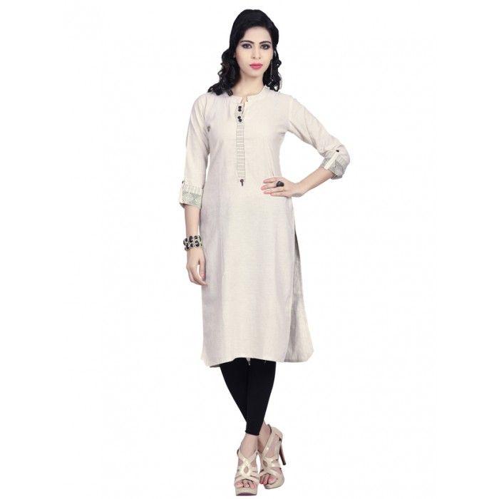 Cream and Black color Pure cotton kurti