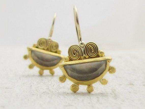 Handmade Gold Earrings 22k Gold Earrings Green Amethyst by Omiya