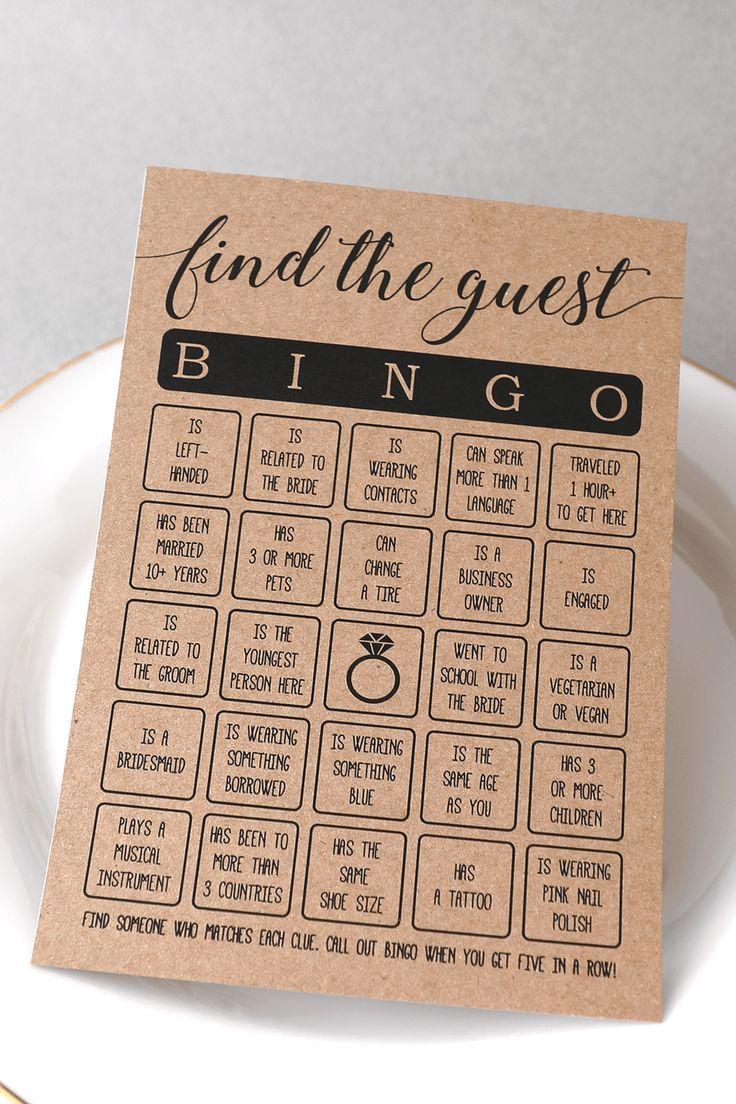 Finde das Gast-Bingo. Finden Sie das Guest Bingo Bridal Shower Game. Bridal Show…
