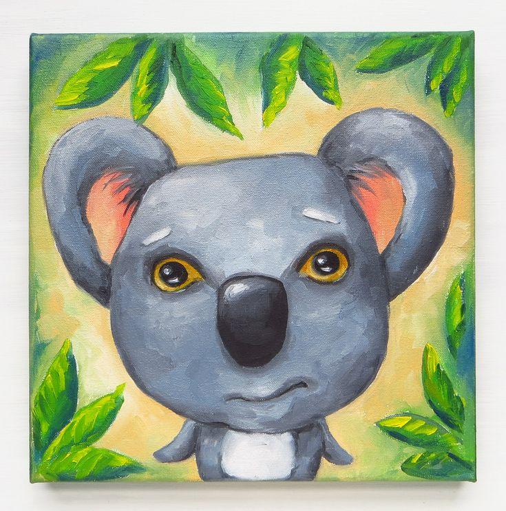 Koala Bear, Little Koala, Original Painting, Hand Painted, Baby Koala, Wild Animals, Oil on Canvas, 20x20 cm, Square Canvas, MikiMayo by MikiMayoShop on Etsy