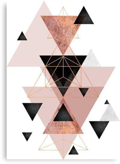 'Geometrische Dreiecke in Rot- und Roségold' Leinwanddruck by UrbanEpiphany – Katrin Wolf
