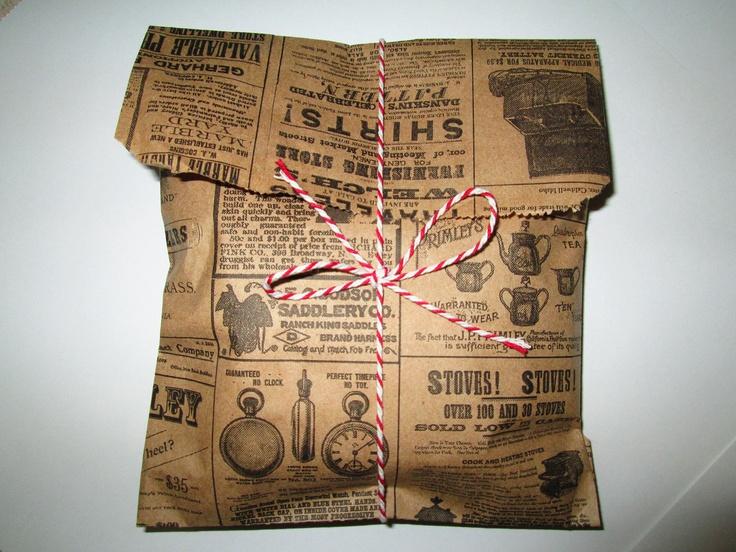 "100 News Print Kraft Brown Paper Bags 9"" x 6"" / Wedding Favor Bags / Birthday Bags / Gift Bags"