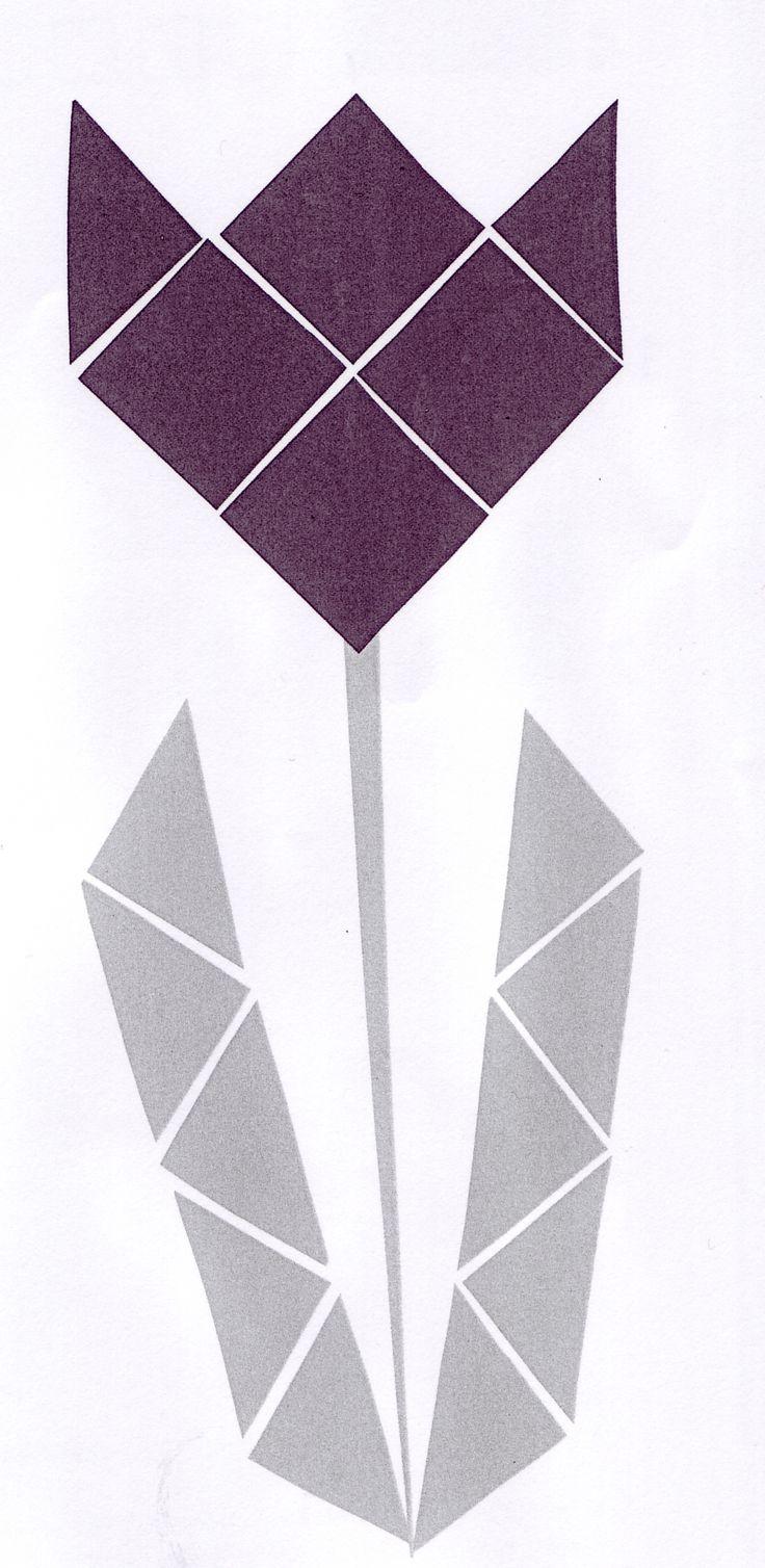 Mozaiek: knippen en plakken (bloem)