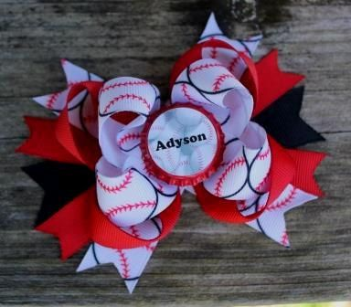 Softball Bow Personalized Bow Bottle Cap Bow Sports Bow Team Boutique Bow Layered Bows Red Black Bows Girls Hair Accessories