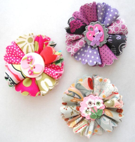 Hair Clips Folded Fabric Flowers handmade with polymer clay button crystals nonslip alligator clip ( 1 )
