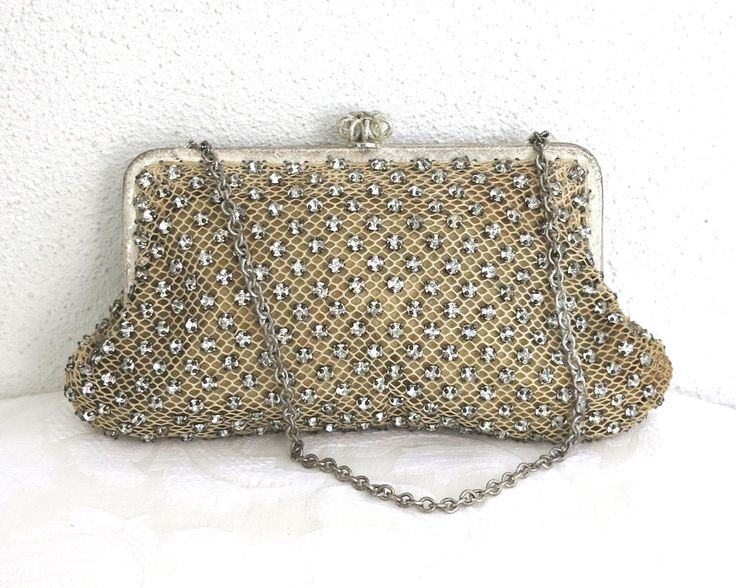 Vintage rhinestone studded evening purse, prong settings over cream net backing, silver metal frame, crown clasp, West Germany, circa 1950s by CardCurios on Etsy