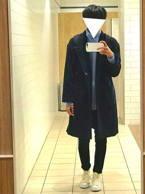 ✔️オーバーサイズコート×黒スキニー 黒スキニー久々に履きました😌 やっぱり服が締まる😌 ✔️